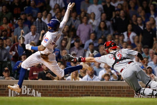 Chicago Cubs' Nicholas Castellanos, left, scores past the attempted tag of Cincinnati Reds catcher Curt Casali during the fourth inning of a baseball game Wednesday, Sept. 18, 2019, in Chicago.