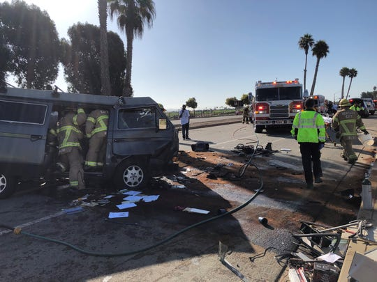 This was the scene of a crash which injured three people on Harbor Boulevard in Ventura on Friday morning.
