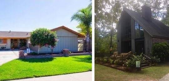 On the left is Robert and Debbie Brooks' three-bedroom, two-bath home in Camarillo, which sold for $555,000 in March. At right is the three-bedroom, two-bath home they bought in North Carolina for $139,000.