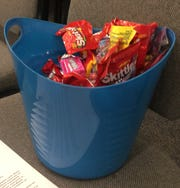 This pail of candy is designed to serve as a bridge at contentious CVUSD board meetings.