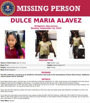 The FBI is contributing $5,000 toward the reward for information on missing 5-year-old Dulce Maria Alavez of Bridgeton.