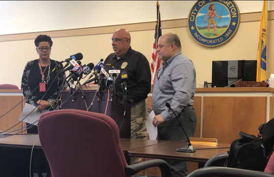 Cumberland County Prosecutor Jennifer Webb-McRae (left), Bridgeton police Chief Michael Gaimari (center), and an FBI linguist address a press briefing on Friday about missing 5-year-old Dulce Maria Alavez. The briefing was at Bridgeton municipal Court and follows a resumption of a search of City Park.