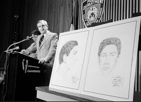 "In this Aug. 9, 1977 file photo, John Keenan, chief of detectives, speaks at a press conference at New York City Police headquarters after two new sketches of the ""Son of Sam"" were unveiled. Keenan, the police official who led New York City's manhunt for the ""Son of Sam"" killer, and eventually took a case-solving confession from David Berkowitz of Yonkers, died Thursday, Sept. 19, 2019, at the age of 99. ("