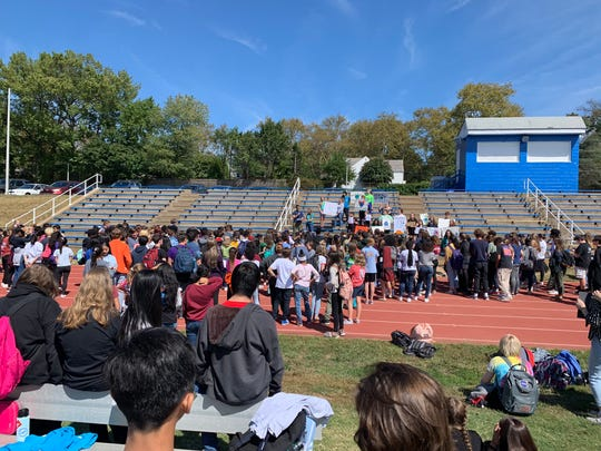 Students at Cab Calloway participated in the climate walkout Friday, Sept. 20, 2019.