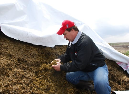 Dr. Randy Shaver from the UW-Madison, examines feed.