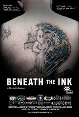 The poster for the documentary features an image of John's back before and after the cover-up.
