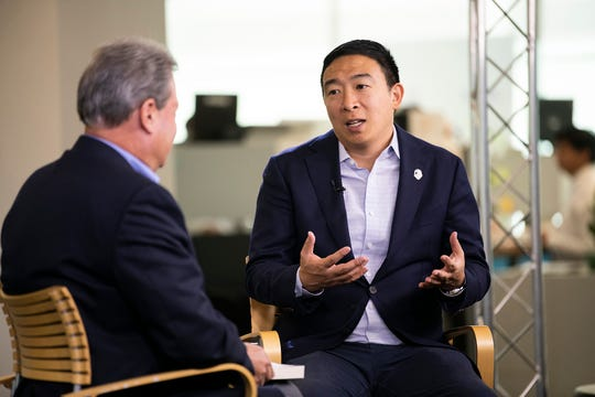 Democratic presidential candidate Andrew Yang speaks with editorial page editor Bill Sternberg on Sept. 18, 2019