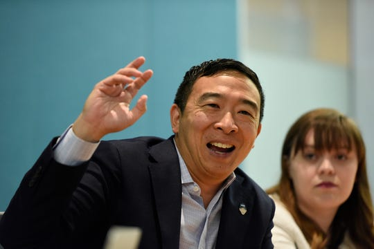 Democratic presidential candidate Andrew Yang talks with the USA TODAY Editorial Board on Sept. 18, 2019.