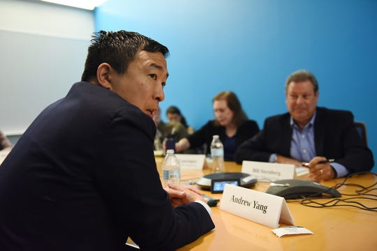 Entrepreneur Andrew Yang discusses his  presidential campaign with the USA TODAY Editorial Board on Sept. 18, 2019.