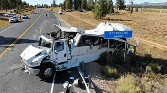 Utah Highway Patrol Sgt. Nicholas Street gives an update on a bus crash outside Bryce Canyon National Park.