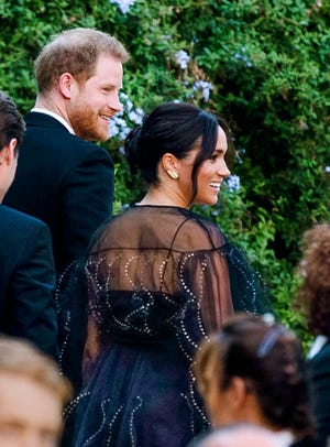 Prince Harry and his wife Duchess Meghan von Sussex at the wedding of designer Misha Nonoo and Michael Hess on September 20, 2019 in Rome.