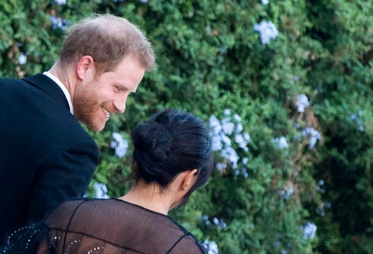 Prince Harry and Duchess Meghan of Sussex arrive to the wedding of Misha Nonoo and Michael Hess in Rome, Sept. 20, 2019.
