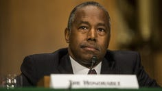 WASHINGTON, DC - SEPTEMBER 10: U.S. Housing and Urban Development Secretary Ben Carson testifies during a Senate Banking, Housing, and Urban Affairs Committee hearing on September 10, 2019 in Washington, DC. Trump administration officials were testifying before the committee in support of a report released  last week calling for the privatization of Fannie Mae and Freddie Mac, the mortgage-finance behemoths taken over by the federal government 11 years ago to prevent their collapse in the wake of the 2008 financial crisis.  (Photo by Zach Gibson/Getty Images) ORG XMIT: 775403717 ORIG FILE ID: 1167233837