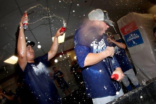 September 10: Los Angeles Dodgers pitcher Hyun-Jin Ryu, left, takes down center-back Cody Bellinger