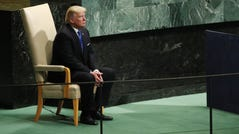 President Donald Trump sits in the head of state chair during the United Nations General Assembly on September 19, 2017.