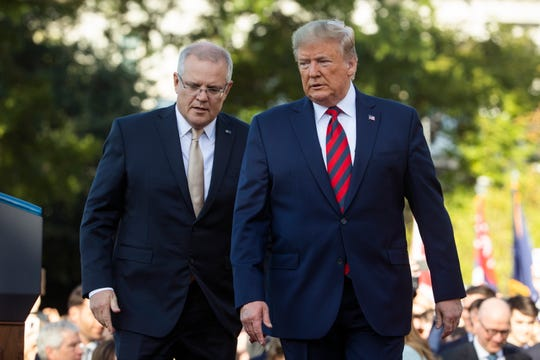President Donald  Trump welcomes Australian Prime Minister Scott Morrison  to the South Lawn of the White House for a state arrival ceremony on Sept. 20, 2019. The occasion marks the second state visit of Donald Trump's presidency.