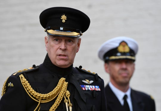 Prince Andrew, Duke of York, attends a ceremony commemorating the 75th anniversary of the liberation of Bruges on Sept. 7, 2019 in Bruges, Belgium.
