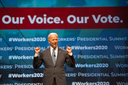 """Democratic presidential candidate former Vice President Joe Biden speaks at the first-ever """"Workers' Presidential Summit"""" at the Convention Center in Philadelphia, Tuesday, Sept. 17, 2019. The Philadelphia Council of the AFL-CIO hosted the event."""