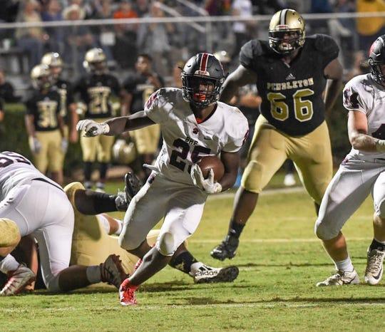 Belton-Honea Path senior R.J. Ellis(25) runs for a touchdown against Pendleton High School during the third quarter at Pendleton High School in Pendleton Friday, September 20, 2019.