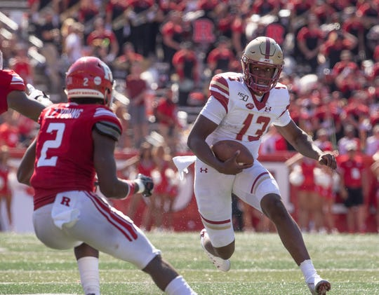 Quarterback Anthony Brown, shown playing for Boston College last September against Rutgers, has transferred to Oregon University for his final season of collegiate football.