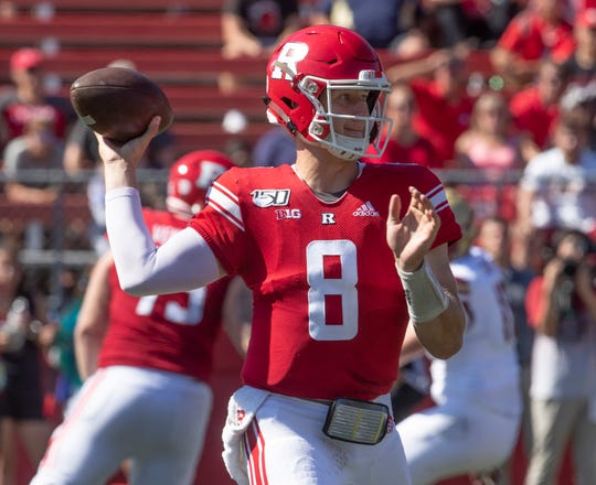 Rutgers quarterback Artur Sitkowski throws a second half pass. Rutgers Football vs Boston College in Piscataway, NJ on 9/21/19.
