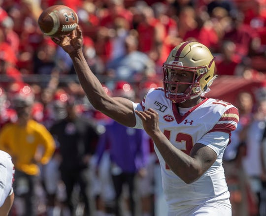 Former St John Vianney player and Boston College quarterback Anthony Brown. Rutgers Football vs Boston College in Piscataway, NJ on 9/21/19.