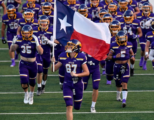 The Wylie High School Bulldogs take the field at Shotwell Stadium for the Southtown Showdown on Sept. 20.