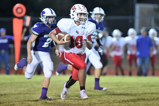 Christoval quarterback Brayden Wilcox (10) breaks away against Cross Plains at Buffalo Stadium on Friday, Sept. 20, 2019. Wilcox rushed for 223 yards and two touchdowns, threw for 65 yards and a touchdown and returned an interception for a touchdown as the Cougars won 26-14.