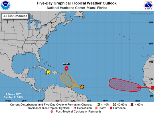 Active systems in the tropics as of Saturday, Sept. 21