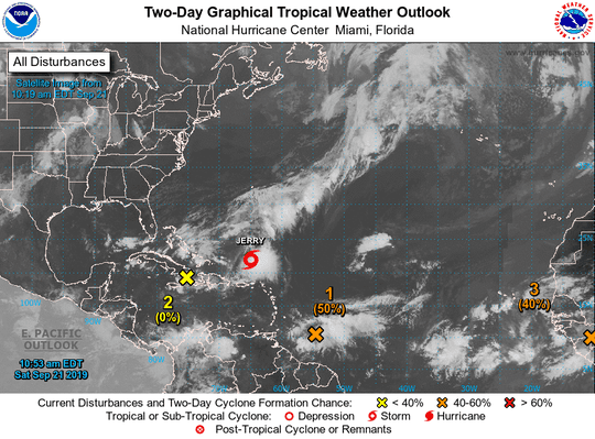 Satellite image of active systems in the tropics as of Saturday, Sept 21