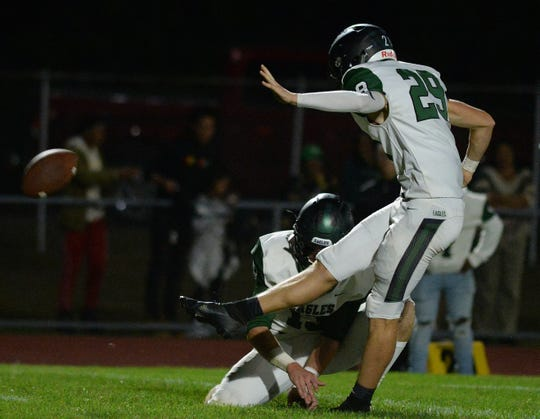 West Deptford's Brandon Ratcliffe kicks a field goal during Friday night's football game against Delsea at Delsea High School, Sept. 20, 2019.