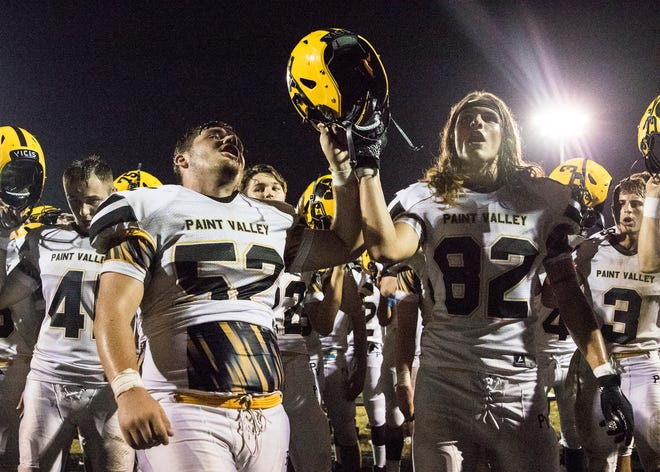 Paint Valley's Colton Skaggs and Brock Hill celebrate after the Bearcats defeated Adena 21-14 on Friday, September 20, 2019, in Frankfort, Ohio.