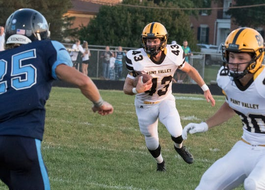 Paint Valley running back Brayden Ison runs the ball during a 21-14 win over Adena on Friday, September 20, 2019, in Frankfort, Ohio.