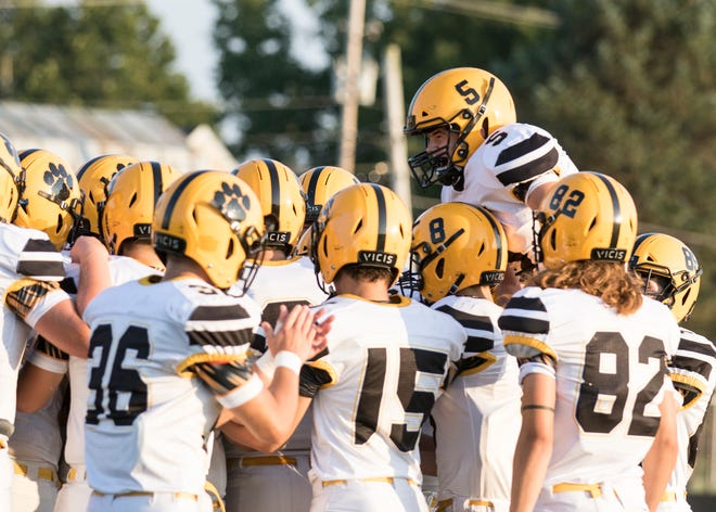 Paint Valley's football team gets hyped up for a game against Adena on Friday, September 20, 2019, in Frankfort, Ohio.