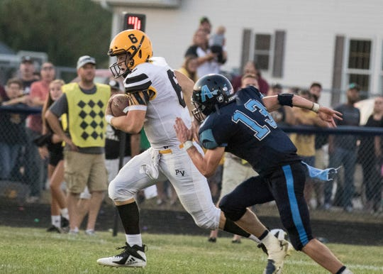 Paint Valley quarterback Bryce Newland runs the ball during a 21-14 win over Adena on Friday, September 20, 2019, in Frankfort, Ohio.