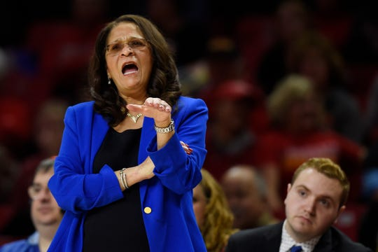 In this Dec. 31, 2018, file photo, Rutgers coach C. Vivian Stringer directs her team during the first half of a NCAA basketball game against Maryland, in Baltimore. Stringer is back with a new outlook on life after having to step away at the end of last season because of exhaustion. Rutgers' Hall of Fame women's basketball coach said doctors told her last February that she ought to take the time to rest. She listened, missing the end of the Scarlet Knights' season that finished with a loss to Buffalo in the opening round of the NCAA Tournament.