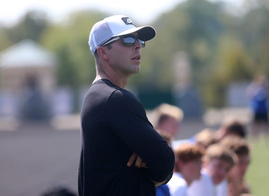 Wyoming head coach Adam Jones during the Cowboys soccer match against McNicholas, Saturday, Sept. 21, 2019.