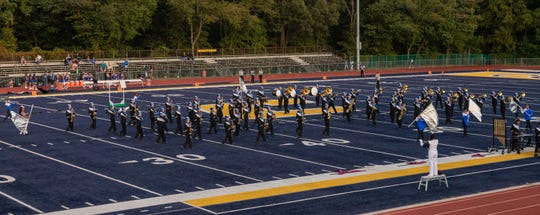 Carteret High School's marching band performs on Friday night