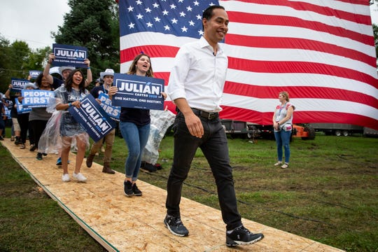 Former HUD secretary and 2020 Democratic presidential candidate Juli‡n Castro walks onstage to speak during the Polk County Democrats Steak Fry in Water Works Park on Saturday, Sept. 21, 2019 in Des Moines.