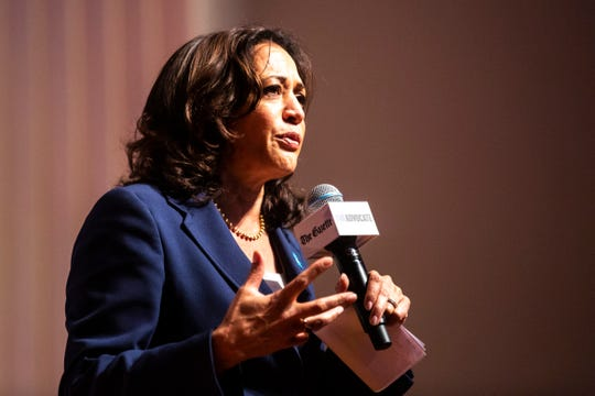 Democratic presidential candidate U.S. Sen. Kamala Harris, D-Calif., speaks during the LGBTQ Presidential Forum, sponsored by GLAAD, One Iowa, The Gazette, and The Advocate, Friday, Sept., 20, 2019, at Sinclair Auditorium on the Coe College campus in Cedar Rapids, Iowa.