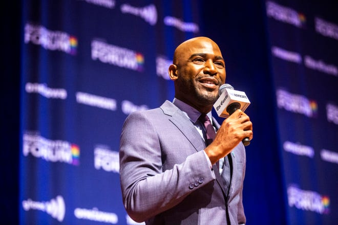 """Queer Eye"" star Karamo Brown speaks during the LGBTQ Presidential Forum, sponsored by GLAAD, One Iowa, The Gazette, and The Advocate, Friday, Sept., 20, 2019, at Sinclair Auditorium on the Coe College campus in Cedar Rapids, Iowa."