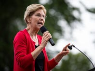 Massachusetts Senator and 2020 Democratic presidential candidate Elizabeth Warren speaks during the Polk County Democrats Steak Fry in Water Works Park on Saturday, Sept. 21, 2019 in Des Moines.
