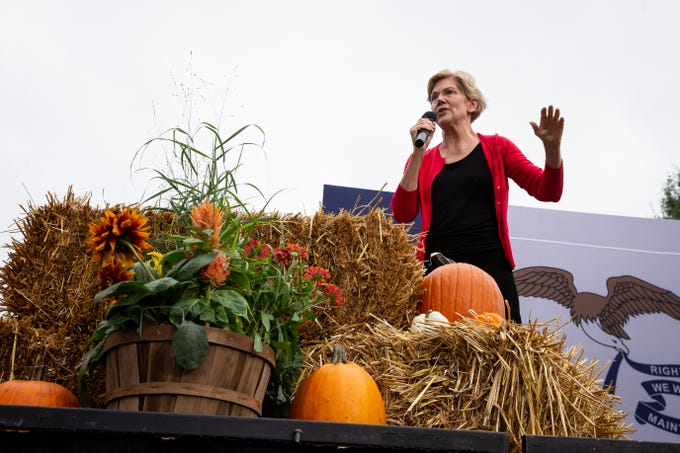 Massachusetts Senator and 2020 Democratic presidential candidate Elizabeth Warren speaks during the Polk County Democrats Steak Fry in Water Works Park on Saturday, Sept. 21, 2019 in Des Moines.