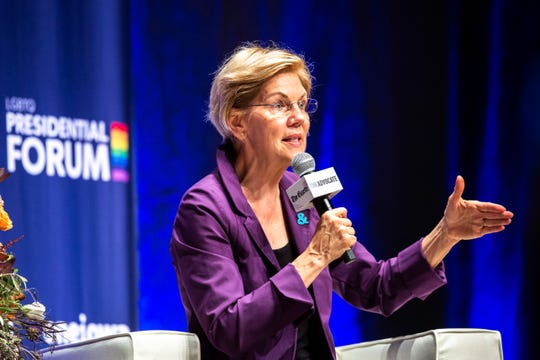 Democratic presidential candidate U.S. Sen. Elizabeth Warren, D-Mass., speaks during the LGBTQ Presidential Forum, sponsored by GLAAD, One Iowa, The Gazette, and The Advocate, Friday, Sept., 20, 2019, at Sinclair Auditorium on the Coe College campus in Cedar Rapids, Iowa.