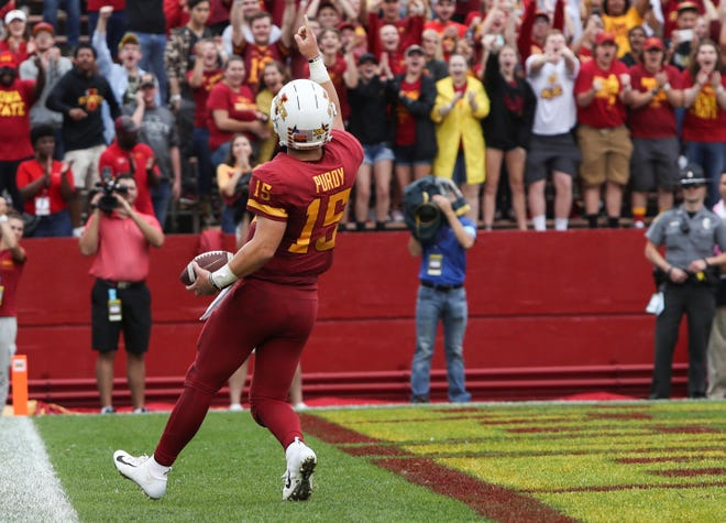 Iowa State Cyclones quarterback Brock Purdy (15) celebrates after scoring a touchdown against the Louisiana Monroe Warhawks at Jack Trice Stadium.