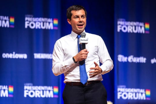 Democratic presidential candidate Pete Buttigieg, mayor of South Bend, Indiana, speaks during the LGBTQ Presidential Forum, sponsored by GLAAD, One Iowa, The Gazette, and The Advocate, Friday, Sept., 20, 2019, at Sinclair Auditorium on the Coe College campus in Cedar Rapids, Iowa.