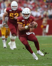 Iowa State Cyclones quarterback Brock Purdy (15) runs the football against the Louisiana Monroe Warhawks at Jack Trice Stadium.