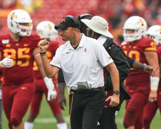 Iowa State Cyclones head coach Matt Campbell celebrates during their game against the Louisiana Monroe Warhawks at Jack Trice Stadium. The Cyclones beat the Warhawks 72 to 20.