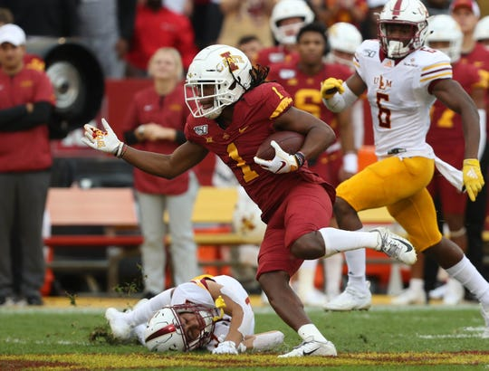 Iowa State Cyclones wide receiver Tarique Milton (1) runs for a touchdown against the Louisiana Monroe Warhawks at Jack Trice Stadium.
