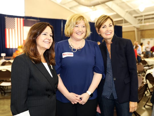 Tricia Dielestops for a photo with man of Pleasant Hill Iowa Governor Kim Reynolds and Karen Pence at the third annual Harvest Festival Fundraiser for Iowa Governor Kim Reynolds and her campaign committee featuring guest speaker Karen Pence, wife of Vice President Mike Pence, at the Elwell Family Food Center at the Iowa State Fairgrounds in Des Moines on Saturday, September 21, 2019. The family-fun event also features BBQ food, pumpkin decorating, face painting and more.
